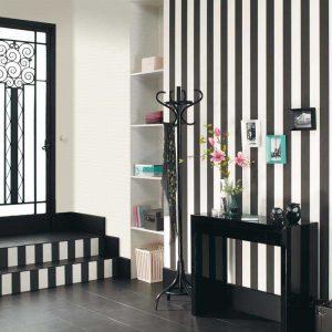 Blockstreifen Tapete schwarz weiß