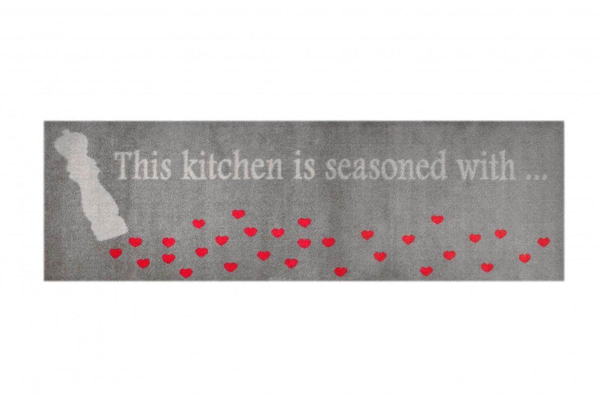 Schmutzfangteppich, LifeStyle-Mat: Streuherzen (Grau; 67 x 170 cm)