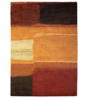 Designer Schurwollteppich Yara Aquarel 193303 - Braun
