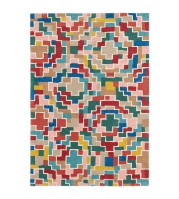 Schurwollteppich Estella Tetris - Bunt
