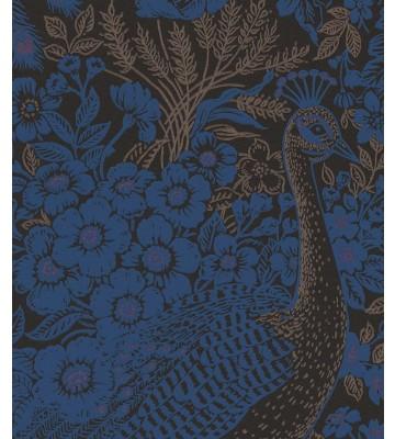 Eijffinger Reflect Vliestapete 378002 - Pfau mit Blumen (Dunkelblau)