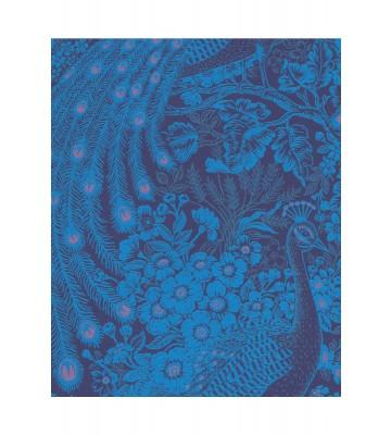 Eijffinger Reflect Vliestapete 378006 - Pfau mit Blumen (Blau)