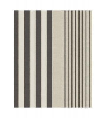 Eijffinger Streifentapete Stripes+ 377100 - Leinenoptik (Beige/Schwarz)