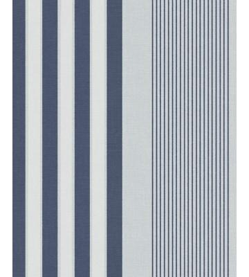 Eijffinger Streifentapete Stripes+ 377103 - Leinenoptik (Blau)