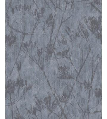 Eijffinger Vliestapete Lino 379052 - Blumen Silhouette (Taubenblau)