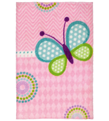 Kinderteppich Lollipop - Schmetterling - Rosa/Blau/Grün
