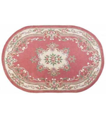 Ovaler Aubusson Design Teppich Ming 501 - Rose