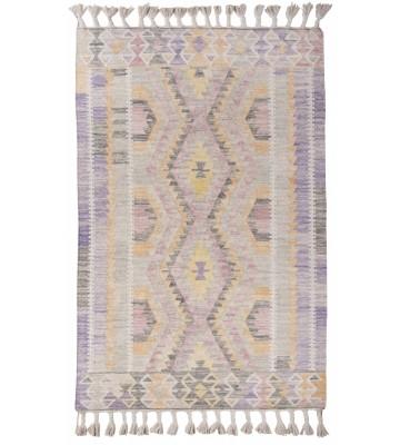 Vintage Teppich mit Fransen - Check Kelim - Purple