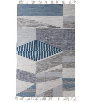 Vintage Teppich mit Fransen - Modern Kelim - Türkis