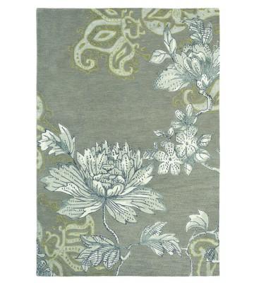 Schurwollteppich Fable Floral - Grau