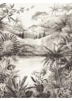 Eijffinger Fototapete 384604 - Tropical Charcoal Large (Schwarz/Weiß)