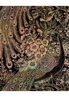 Eijffinger Reflect Vliestapete 378000 - Pfau mit Blumen (Schwarz/Gold)