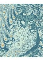 Eijffinger Reflect Vliestapete 378004 - Pfau mit Blumen (Türkis)