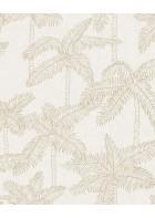 Eijffinger Vliestapete Vivid 384510 - Palmen (Weiß/Gold)