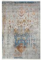 Fransenteppich in Vintage Ornament Optik - Blau