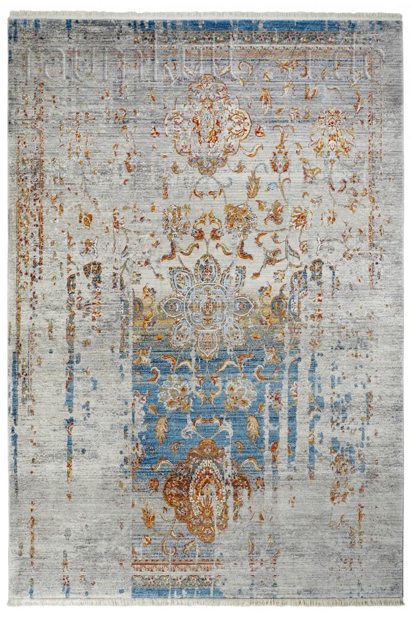 Teppichlaufer Mit Fransen In Vintage Ornament Optik Blau Von