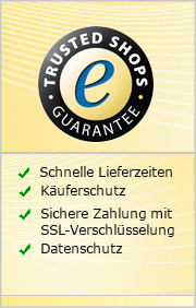 Trusted Shops Zertifikat: Schnelle Lieferzeiten, Käuferschutz, Sichere Zahlung mit SSL-Verschlüsselung, Datenschutz, 30 Tage Rückgaberecht